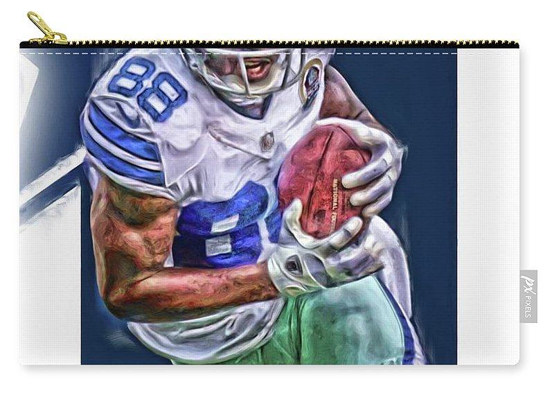 Dez Bryant Carry-all Pouch featuring the mixed media Dez Bryant Dallas Cowboys Oil Art by Joe Hamilton