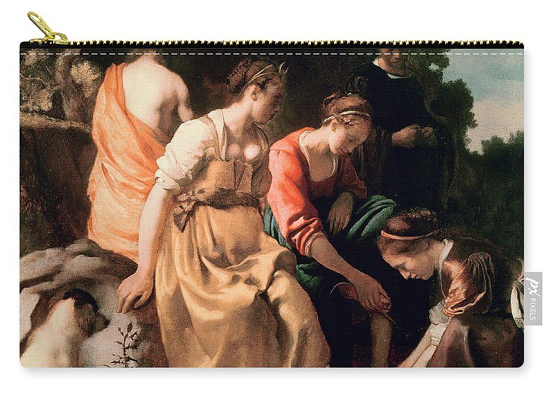 Diana And Her Companions Carry-all Pouch featuring the painting Diana And Her Companions by Jan Vermeer