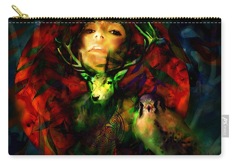 Spiritual Carry-all Pouch featuring the digital art Dianas Blood Moon by Stephen Lucas