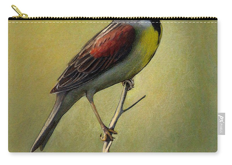Birds Carry-all Pouch featuring the drawing Dickcissel Summer Song by Bruce Morrison