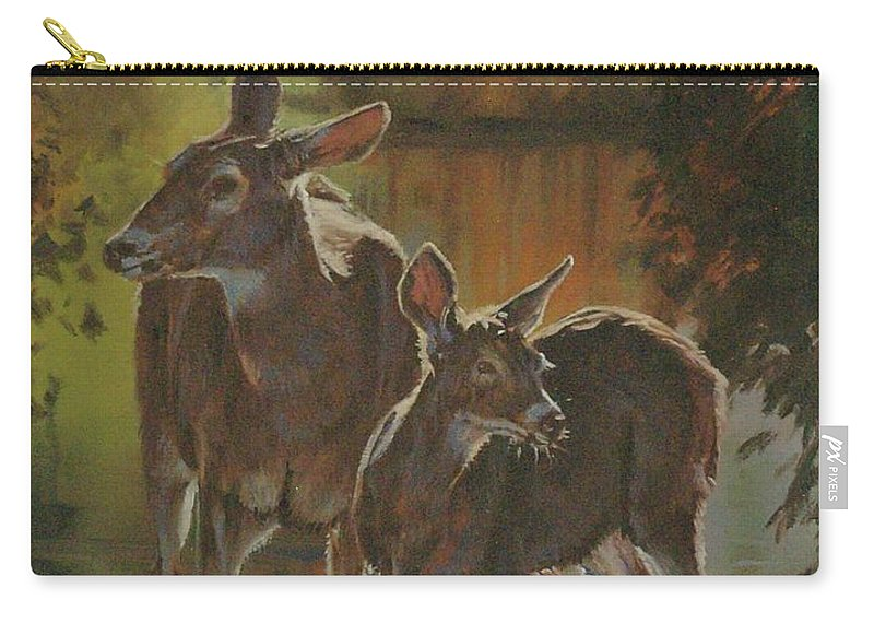 Deer Carry-all Pouch featuring the painting Did You Hear That by Mia DeLode