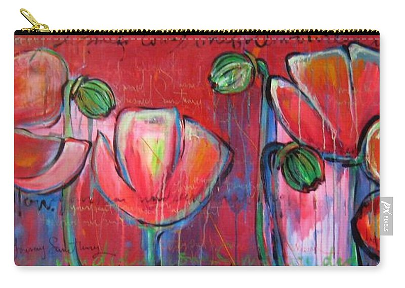 Red Carry-all Pouch featuring the painting Did You Say Sanctuary by Laurie Maves ART