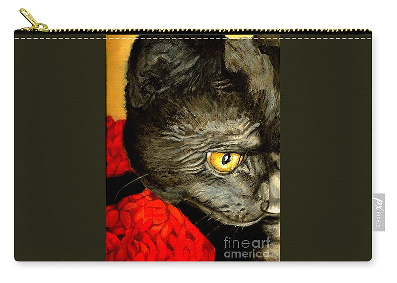 Animal Painting Carry-all Pouch featuring the painting Diego The Cat by Portraits By NC