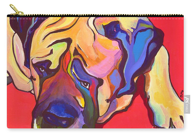 Mastiff Carry-all Pouch featuring the painting Diesel  by Pat Saunders-White