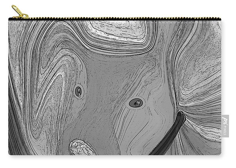 Ruth Palmer Abstract Black And White Digital Dog Dogs Animals Humor Funny Carry-all Pouch featuring the digital art Digidawg by Ruth Palmer