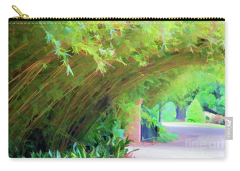Landscape Carry-all Pouch featuring the photograph Digital Bamboo Rip Van Winkle Gardens by Chuck Kuhn