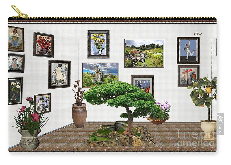 People Carry-all Pouch featuring the mixed media Digital Exhibition _ Bonsai 22 by Pemaro