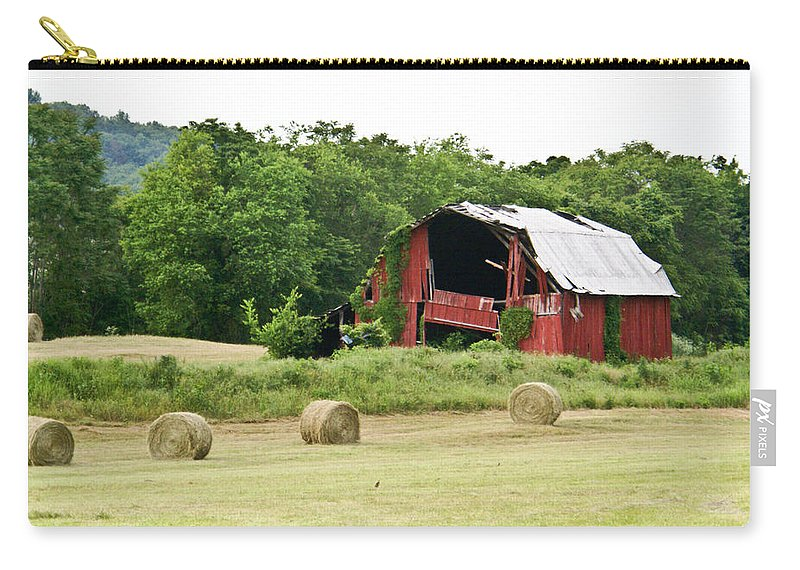 Old Carry-all Pouch featuring the photograph Dilapidated Old Red Barn by Douglas Barnett