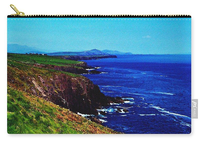 Irish Carry-all Pouch featuring the digital art Dingle Coastline Near Fahan Ireland by Teresa Mucha