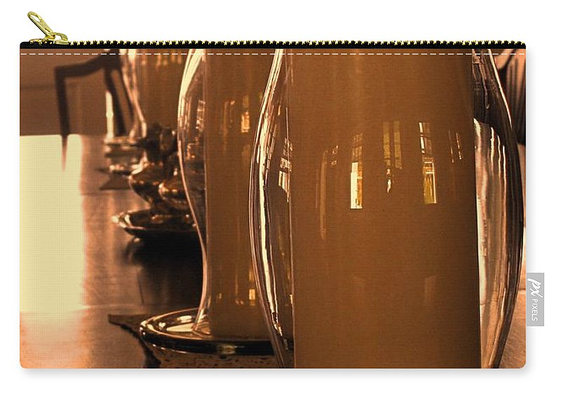 Fairview Great House Carry-all Pouch featuring the photograph Dining Room Candles by Ian MacDonald