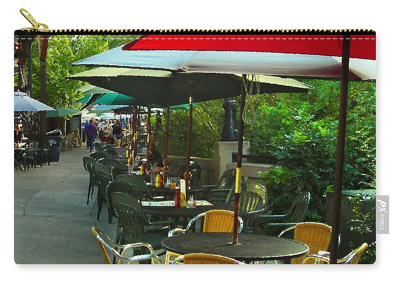Cafe Carry-all Pouch featuring the photograph Dining Under The Umbrellas by James Eddy