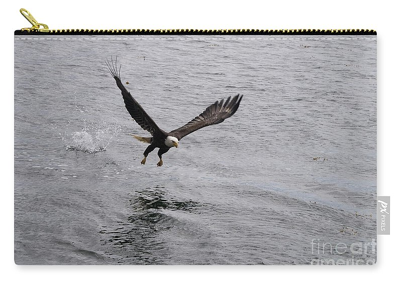 Eagle Carry-all Pouch featuring the photograph Dinner? Prince Rupert Eagle by Louise Magno