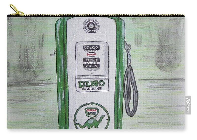 Dino Carry-all Pouch featuring the painting Dino Sinclair Gas Pump by Kathy Marrs Chandler