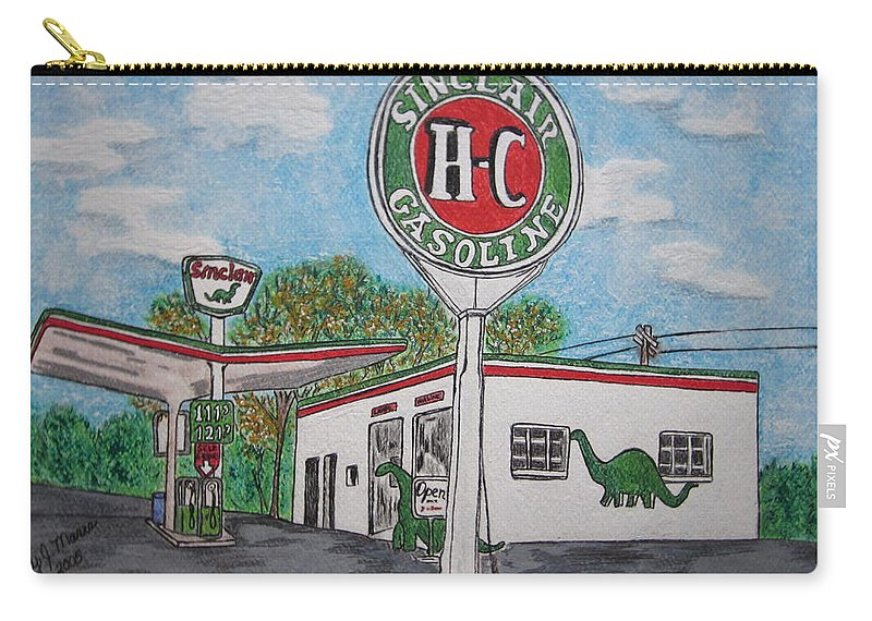 Dino Carry-all Pouch featuring the painting Dino Sinclair Gas Station by Kathy Marrs Chandler