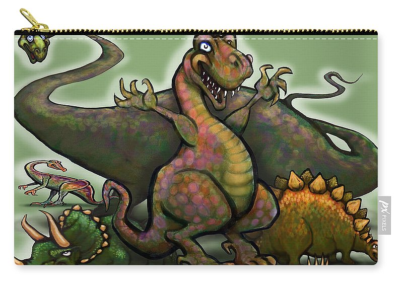 Dinosaur Carry-all Pouch featuring the painting Dinosaurs by Kevin Middleton
