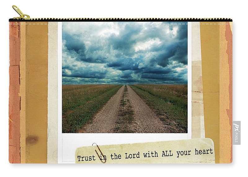 Bible Verse Carry-all Pouch featuring the photograph Dirt Road With Scripture Verse by Jill Battaglia