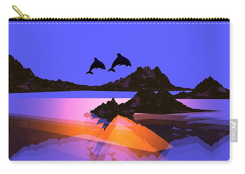 Dolphin Carry-all Pouch featuring the digital art Discovery by Robert Orinski
