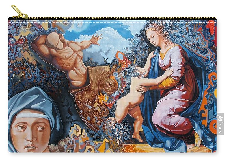 Surrealism Carry-all Pouch featuring the painting Disintegration Of The Old Ancient World by Darwin Leon