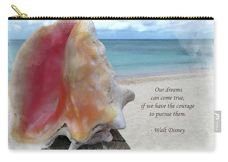 Disney Carry-all Pouch featuring the digital art Disney Inspiration Quote by Joan Minchak