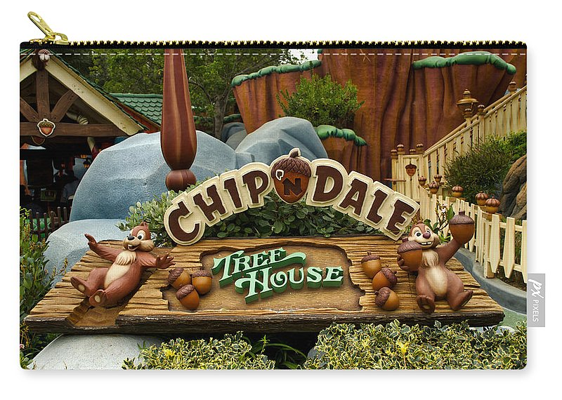 Disney Carry-all Pouch featuring the photograph Disneyland Chip And Dale Signage by Thomas Woolworth