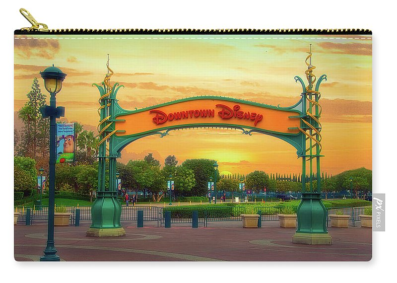 Disney Carry-all Pouch featuring the photograph Disneyland Downtown Disney Signage 02 by Thomas Woolworth