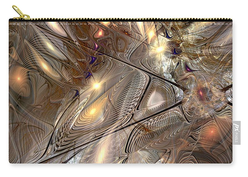 Abstract Carry-all Pouch featuring the digital art Disorderly Relativistic Interpretations by Casey Kotas
