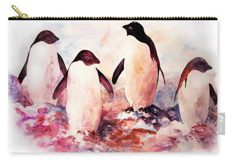 Penguins Carry-all Pouch featuring the painting Dissident by Rachel Christine Nowicki