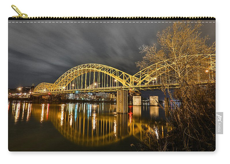 Pittsburgh Pa. Yellow Bridge Urban Urbanx Taaffe Hdr Pirates River Skyline View Mount Washington Clouds Pitt steel City Carry-all Pouch featuring the photograph Distance by Jimmy Taaffe
