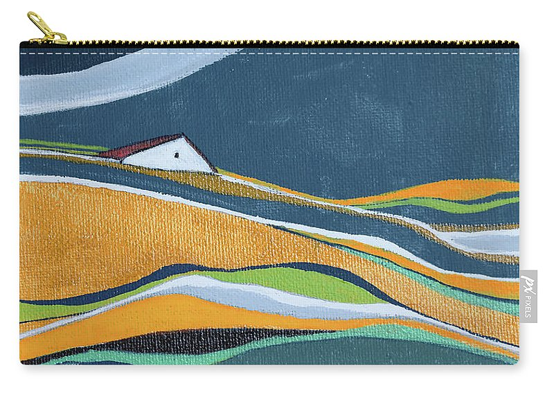 Abstract Carry-all Pouch featuring the painting Distant House by Aniko Hencz