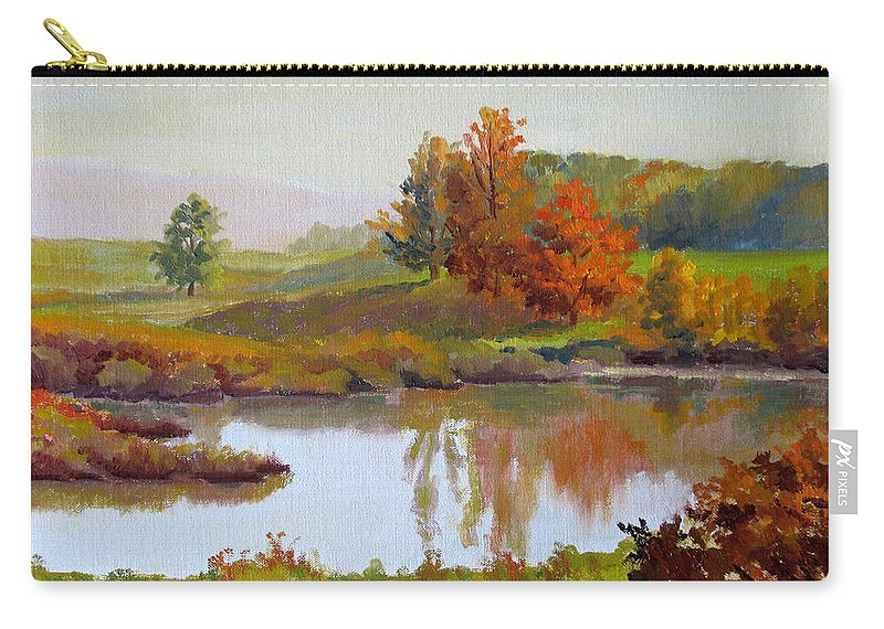Landscape Carry-all Pouch featuring the painting Distant Maples by Keith Burgess