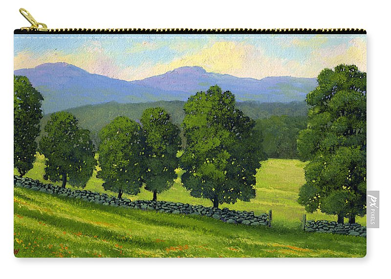 Landscape Carry-all Pouch featuring the painting Distant Mountains by Frank Wilson
