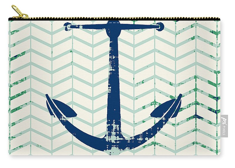Brandi Fitzgerald Carry-all Pouch featuring the digital art Distressed Navy Anchor V2 by Brandi Fitzgerald