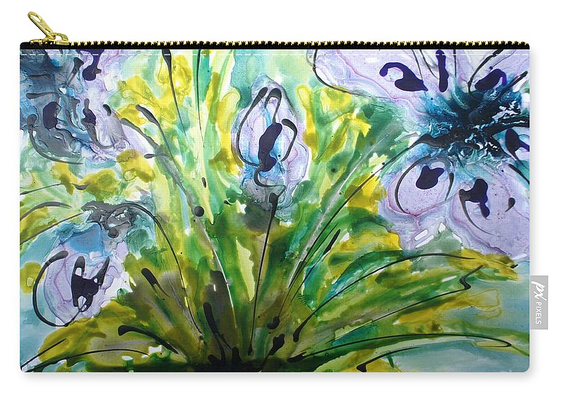 Flowers Carry-all Pouch featuring the painting Divine Blooms-21196 by Baljit Chadha