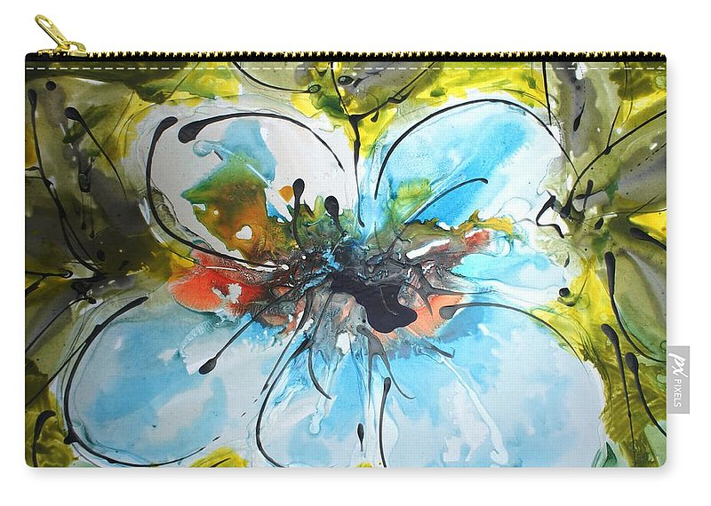 Flowers Carry-all Pouch featuring the painting Divine Blooms-21199 by Baljit Chadha