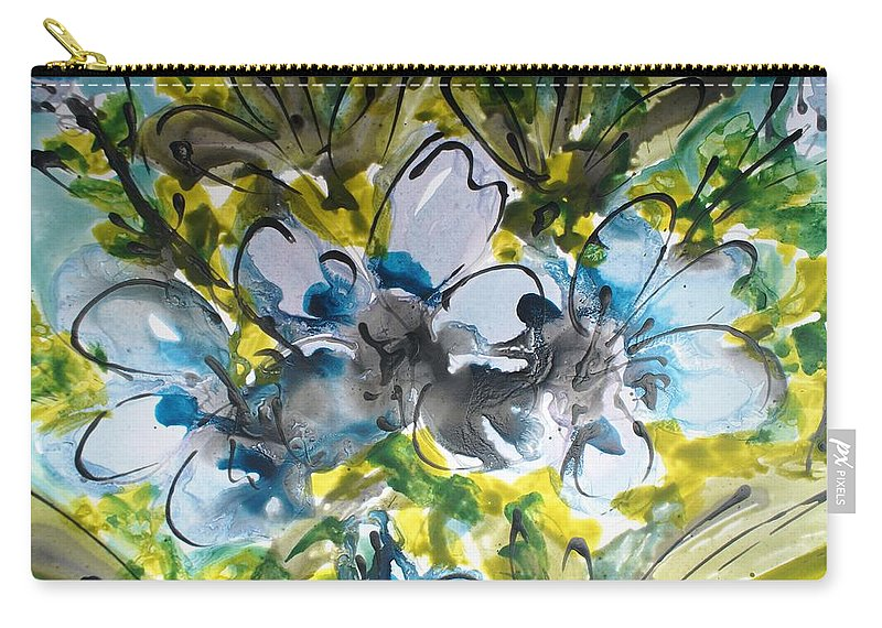Flowers Carry-all Pouch featuring the painting Divine Blooms-21200 by Baljit Chadha