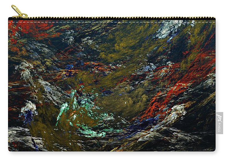 Fine Art Digital Art Carry-all Pouch featuring the digital art Diving The Reef Series - Sea Floor Abstract by David Lane