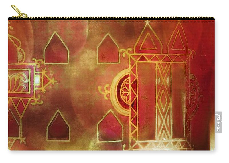 Diwali Card Carry-all Pouch featuring the photograph Diwali Card Lamps And Murals Blue City India Rajasthan 2h by Sue Jacobi
