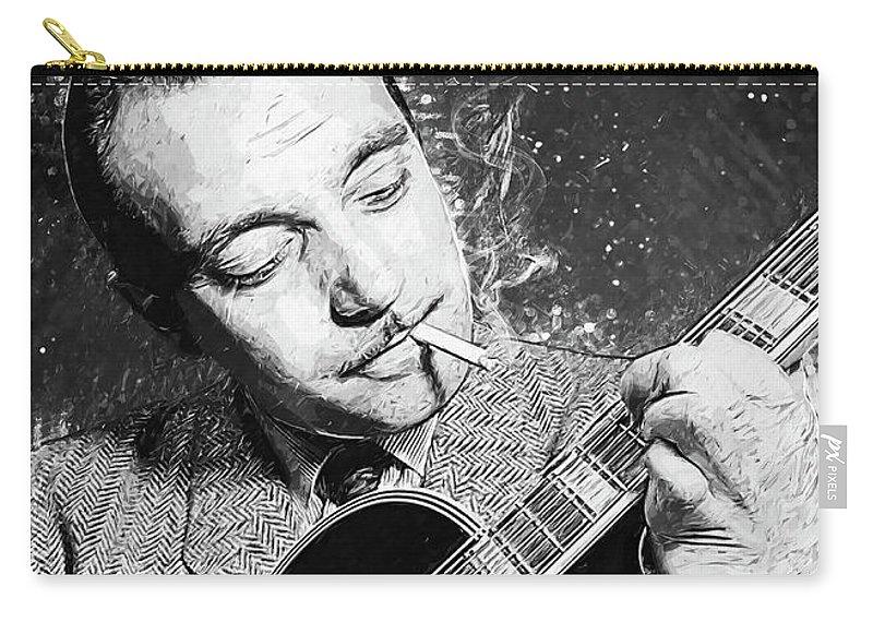 Django Reinhardt Carry-all Pouch featuring the digital art Django Reinhardt by Zapista