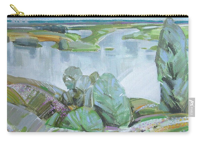 Landscape Carry-all Pouch featuring the painting Dnepro River by Sergey Ignatenko