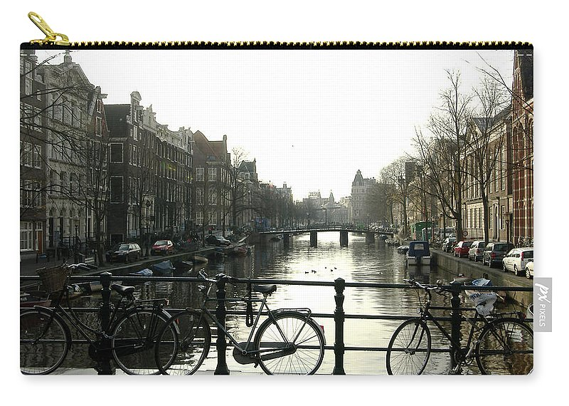 Landscape Amsterdam Red Light District Carry-all Pouch featuring the photograph Dnrh1103 by Henry Butz