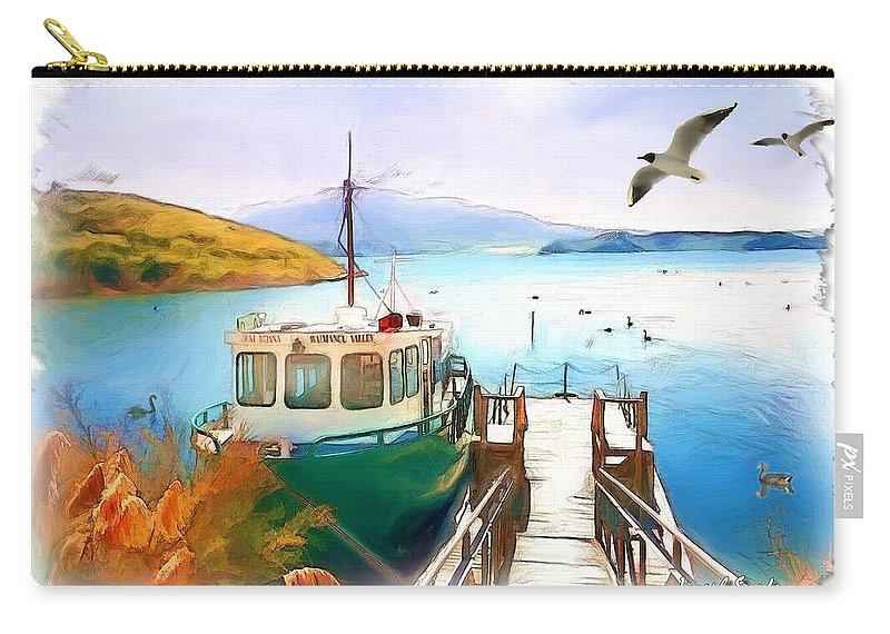 Boat Carry-all Pouch featuring the photograph Do-00095 Boat Near Rotorua by Digital Oil