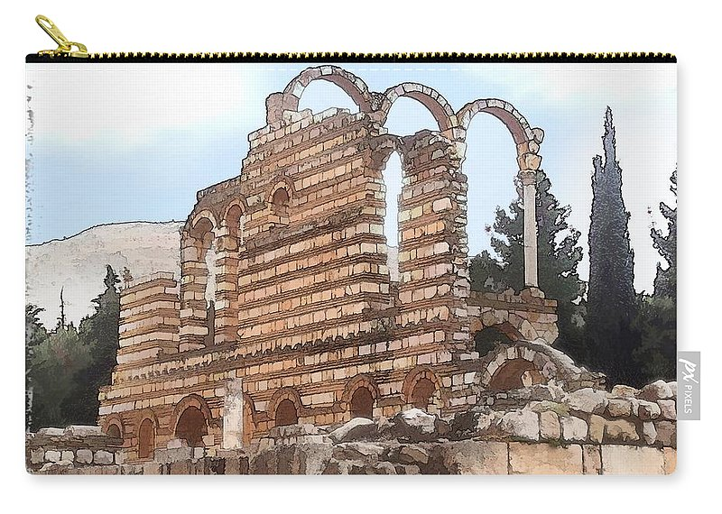 Ancient Carry-all Pouch featuring the photograph Do-00302 Ruins In Anjar by Digital Oil