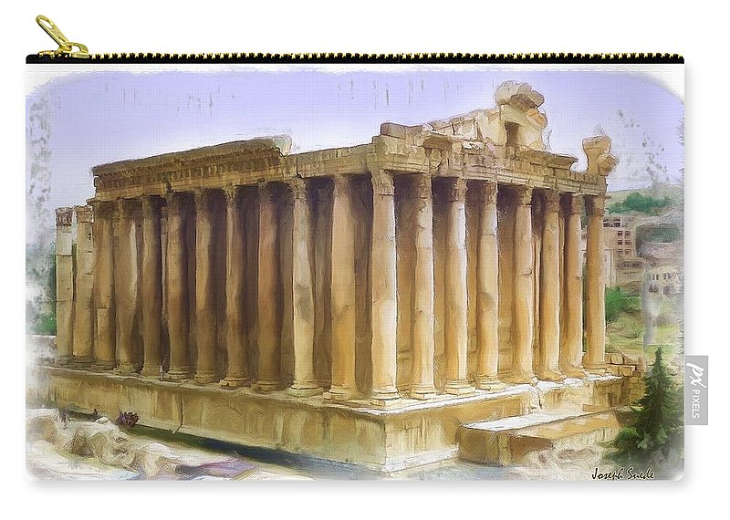 Roman Carry-all Pouch featuring the photograph Do-00312 Temple Of Bacchus In Baalbeck by Digital Oil