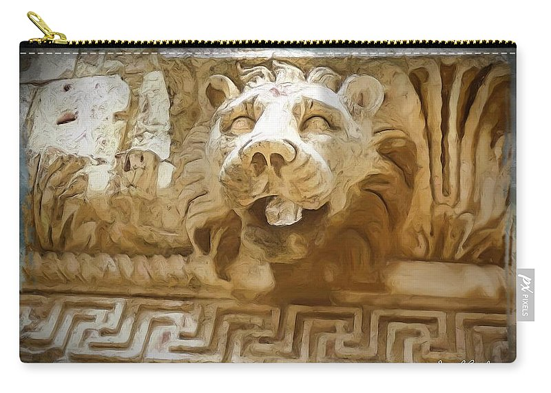Roman Carry-all Pouch featuring the photograph Do-00313 Lion Water Feature by Digital Oil