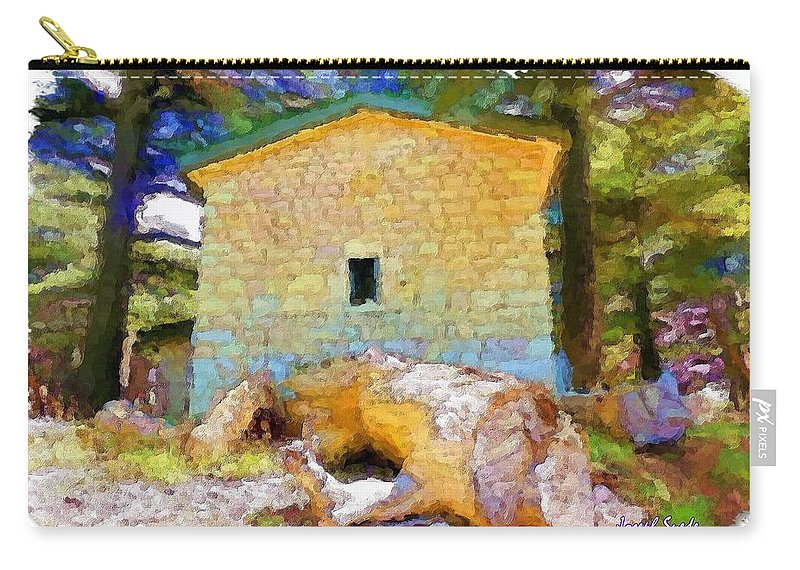 Building Carry-all Pouch featuring the photograph Do-00435 Building Surrounded By Cedars by Digital Oil