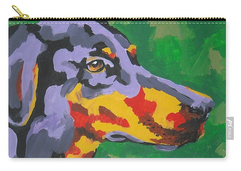 Dog Carry-all Pouch featuring the painting Doberman by Caroline Davis