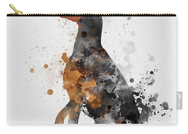 Doberman Carry-all Pouch featuring the mixed media Doberman Pinscher by My Inspiration