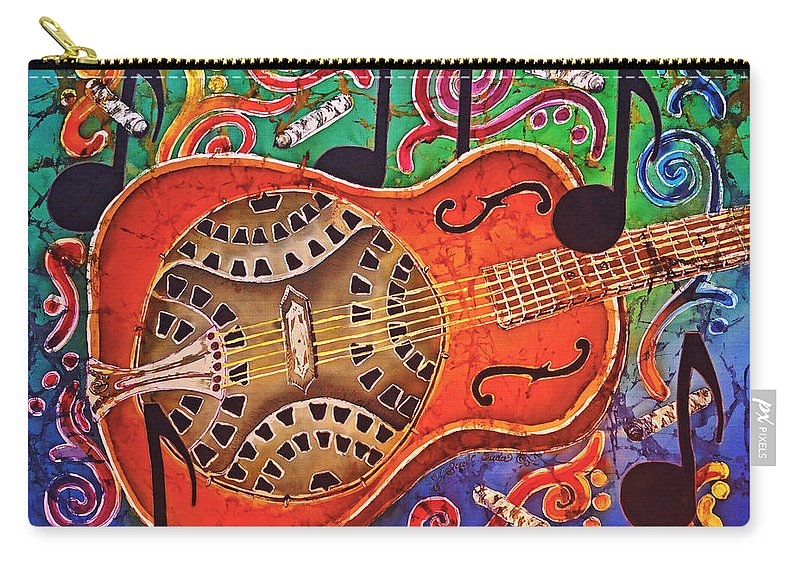 Dobro Carry-all Pouch featuring the tapestry - textile Dobro - Slide Guitar by Sue Duda