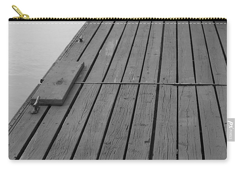 Dock Carry-all Pouch featuring the photograph Dock In Black And White by Nadine Rippelmeyer