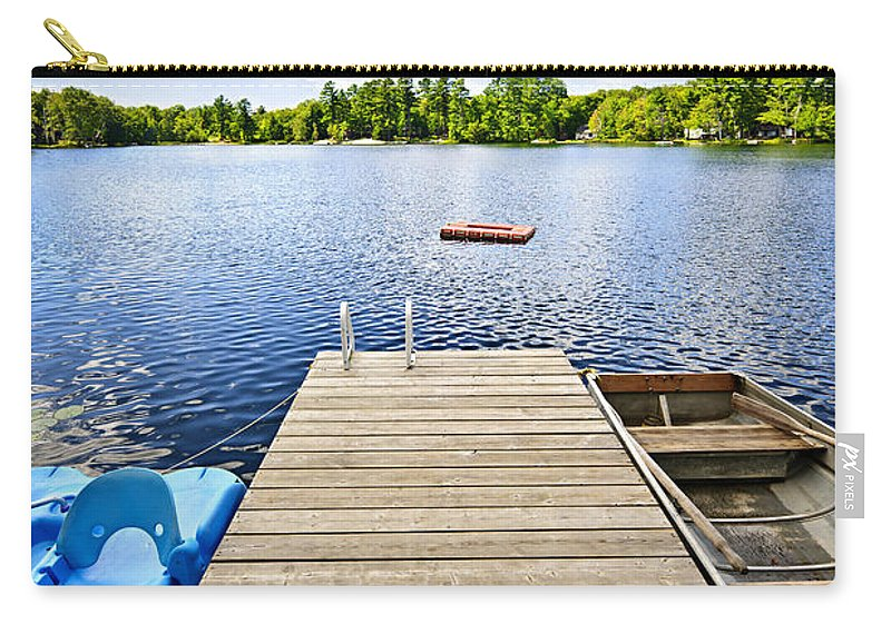 Dock Carry-all Pouch featuring the photograph Dock On Lake In Summer Cottage Country by Elena Elisseeva